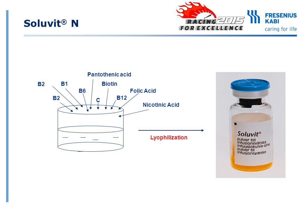 B2 B6 B1 B2 C Folic Acid Biotin Pantothenic acid B12 Nicotinic Acid Lyophilization Soluvit ® N