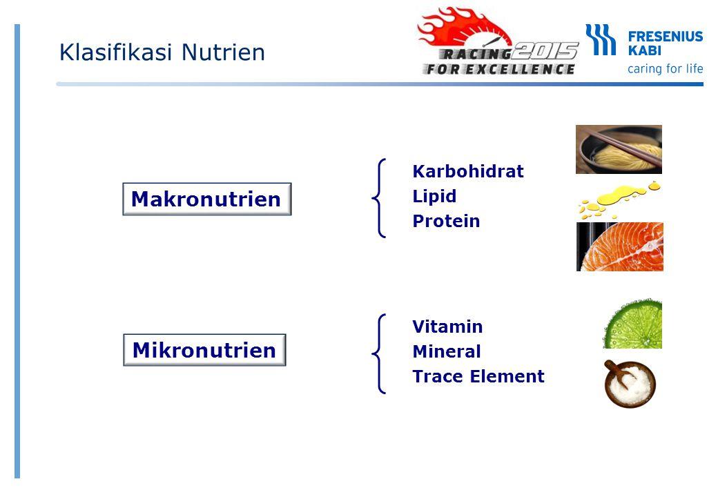 Vitamin larut lemak vs larut air Vitamin larut lemak  Larut dalam lemak  Membutuhkan lemak untuk penyerapan dan transpotasi  Dapat disimpan dalam tubuh : hati, jaringan adipose  Terutama berperan pada pemeliharaan metabolik, pertumbuhan sel dan aktifitas antioksidan Vitamin larut air  Larut dalam air  Mudah diserap dan dieksresi melalui urin  Sulit/tidak tersimpan dalam tubuh  Terutama berperan pada alur metabolik dan sintesa a.l : DNA, AA