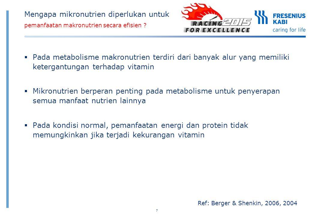 7 Ref: Berger & Shenkin, 2006, 2004 Mengapa mikronutrien diperlukan untuk pemanfaatan makronutrien secara efisien ?  Pada metabolisme makronutrien te