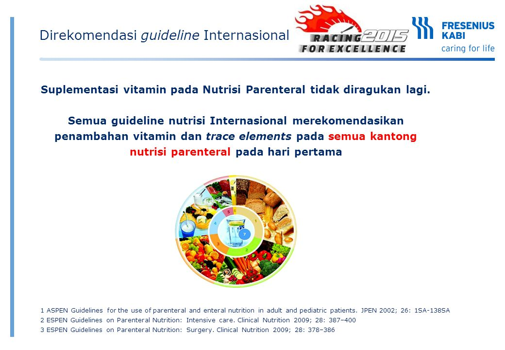Suplementasi vitamin pada Nutrisi Parenteral tidak diragukan lagi. Semua guideline nutrisi Internasional merekomendasikan penambahan vitamin dan trace