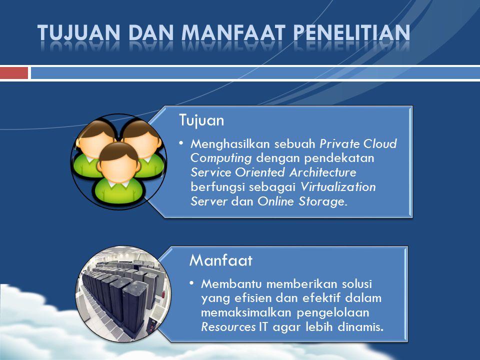 Tujuan Menghasilkan sebuah Private Cloud Computing dengan pendekatan Service Oriented Architecture berfungsi sebagai Virtualization Server dan Online