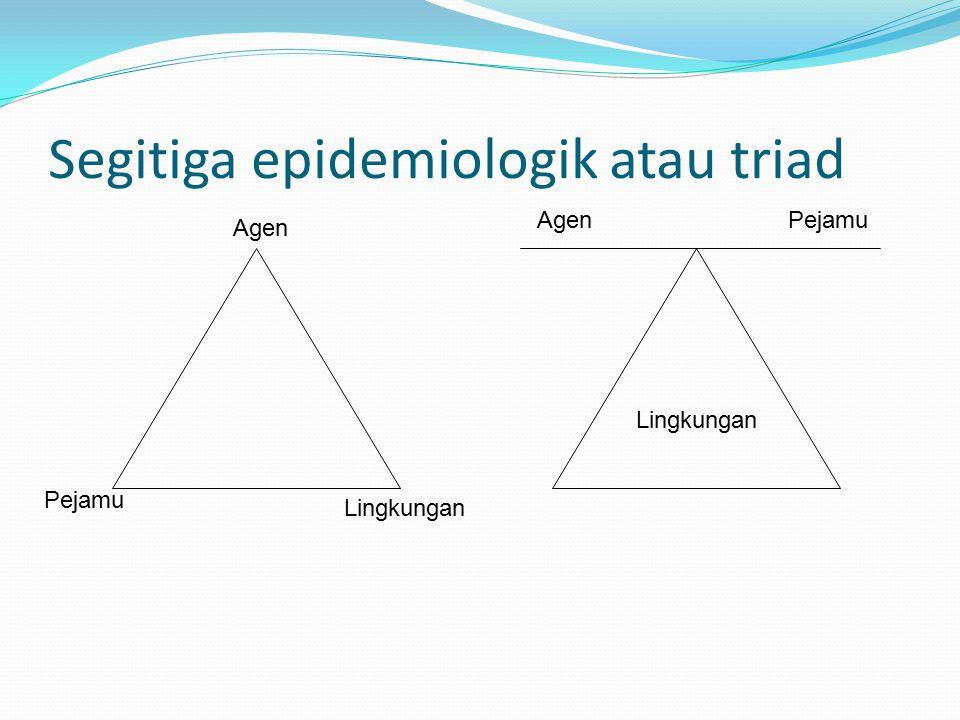 Segitiga epidemiologik atau triad Lingkungan Agen Pejamu Lingkungan AgenPejamu