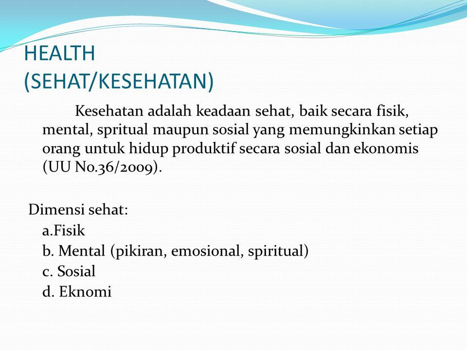 HEALTH (SEHAT/KESEHATAN) Kesehatan adalah keadaan sehat, baik secara fisik, mental, spritual maupun sosial yang memungkinkan setiap orang untuk hidup produktif secara sosial dan ekonomis (UU No.36/2009).