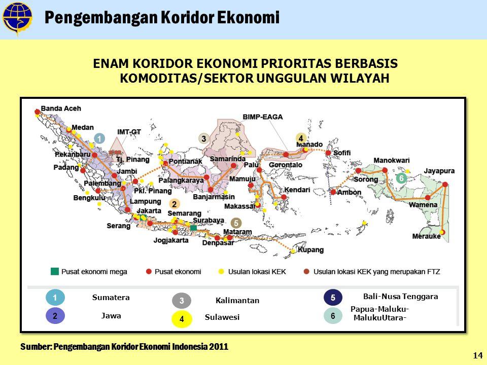 14 Sumber: Pengembangan Koridor Ekonomi Indonesia 2011 Pengembangan Koridor Ekonomi ENAM KORIDOR EKONOMI PRIORITAS BERBASIS KOMODITAS/SEKTOR UNGGULAN WILAYAH 1 Sumatera 2 Jawa 3 Kalimantan 4 Sulawesi 5 Bali-Nusa Tenggara 6 Papua-Maluku- MalukuUtara-
