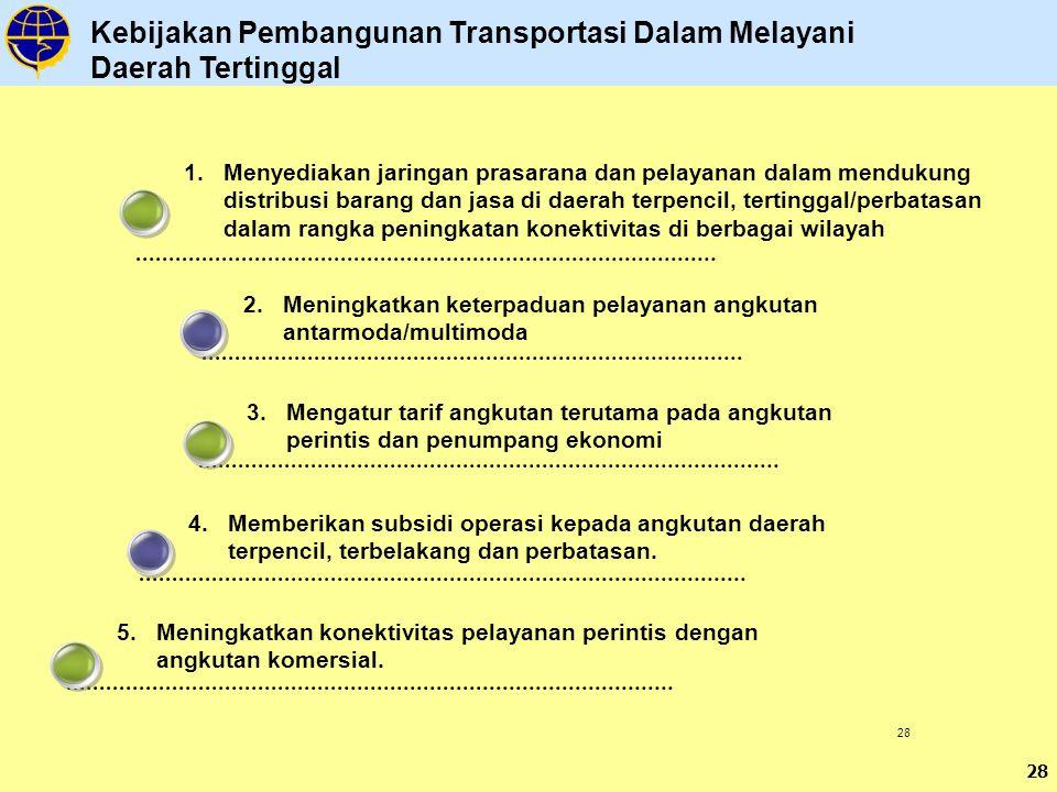 28 3.Mengatur tarif angkutan terutama pada angkutan perintis dan penumpang ekonomi 2.