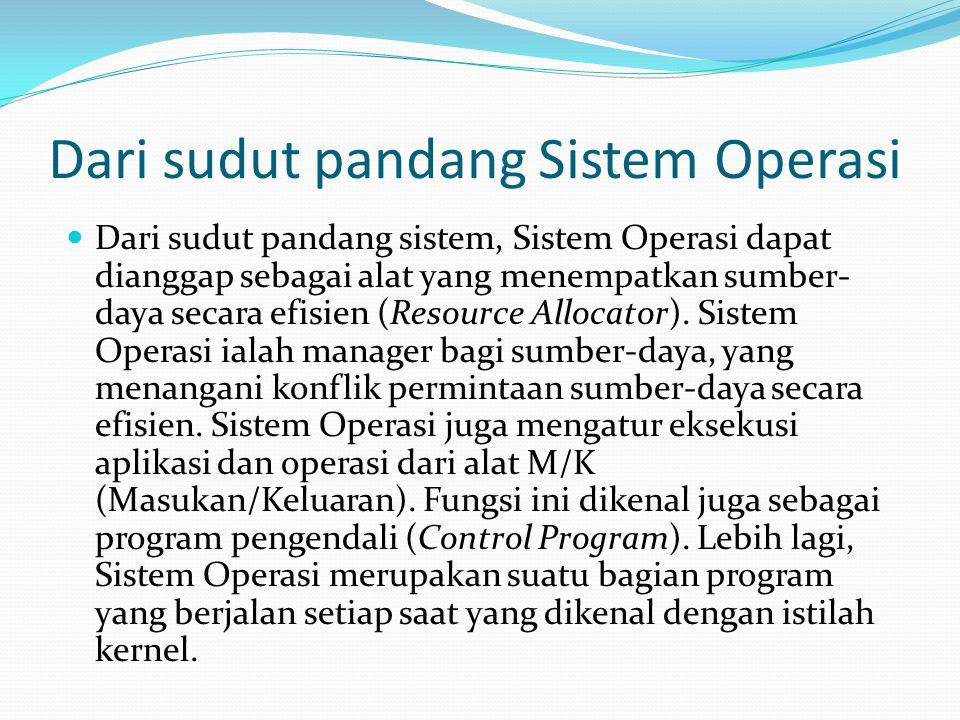 Dari sudut pandang sistem, Sistem Operasi dapat dianggap sebagai alat yang menempatkan sumber- daya secara efisien (Resource Allocator). Sistem Operas