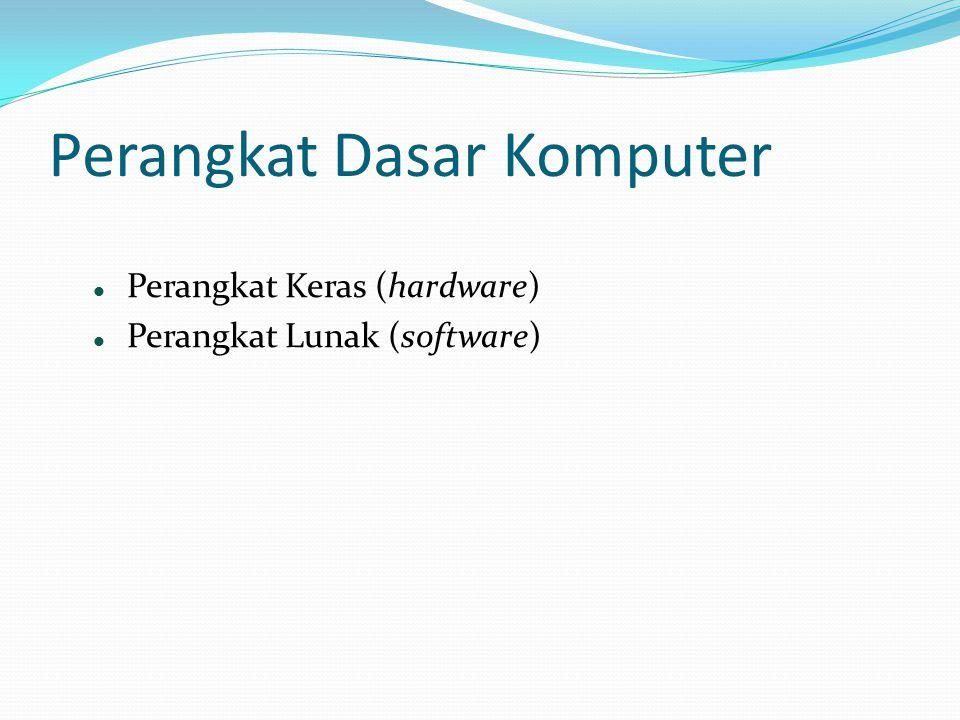 Perangkat Keras (hardware)  Perangkat Lunak (software)  Perangkat Dasar Komputer