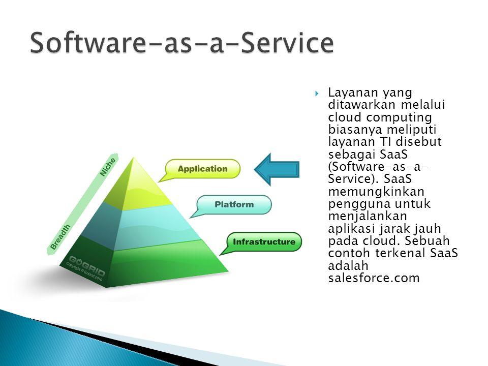  Layanan yang ditawarkan melalui cloud computing biasanya meliputi layanan TI disebut sebagai SaaS (Software-as-a- Service). SaaS memungkinkan penggu