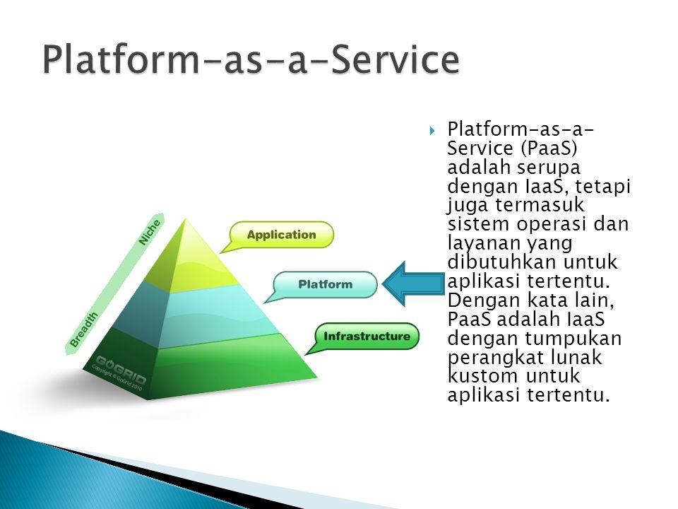  Platform-as-a- Service (PaaS) adalah serupa dengan IaaS, tetapi juga termasuk sistem operasi dan layanan yang dibutuhkan untuk aplikasi tertentu. De
