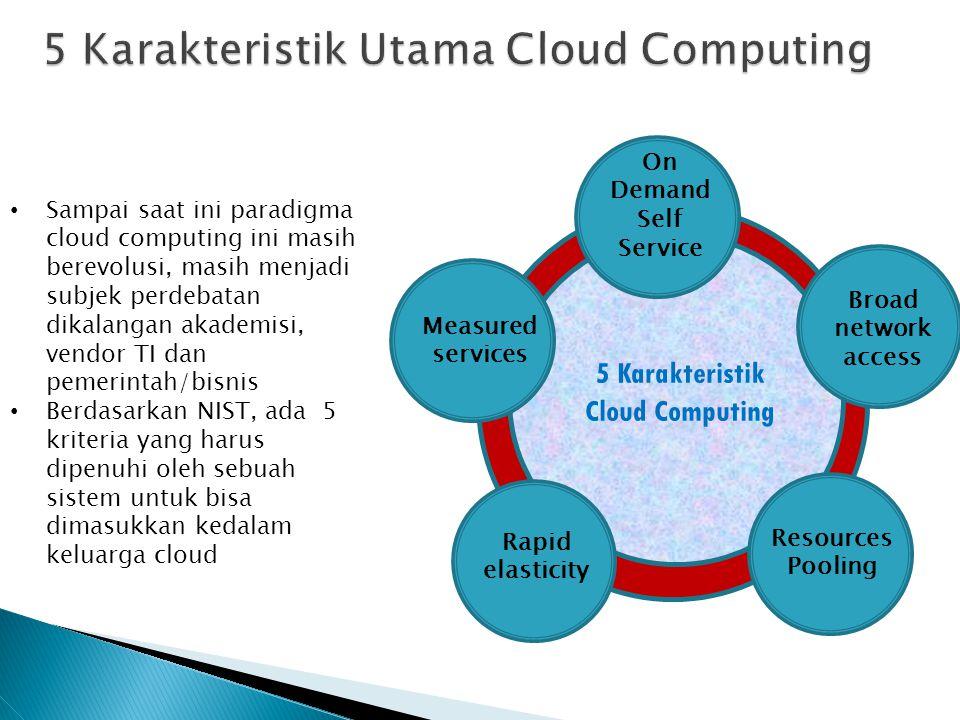 On Demand Self Service Broad network access Resources Pooling Rapid elasticity Measured services 5 Karakteristik Cloud Computing Sampai saat ini parad