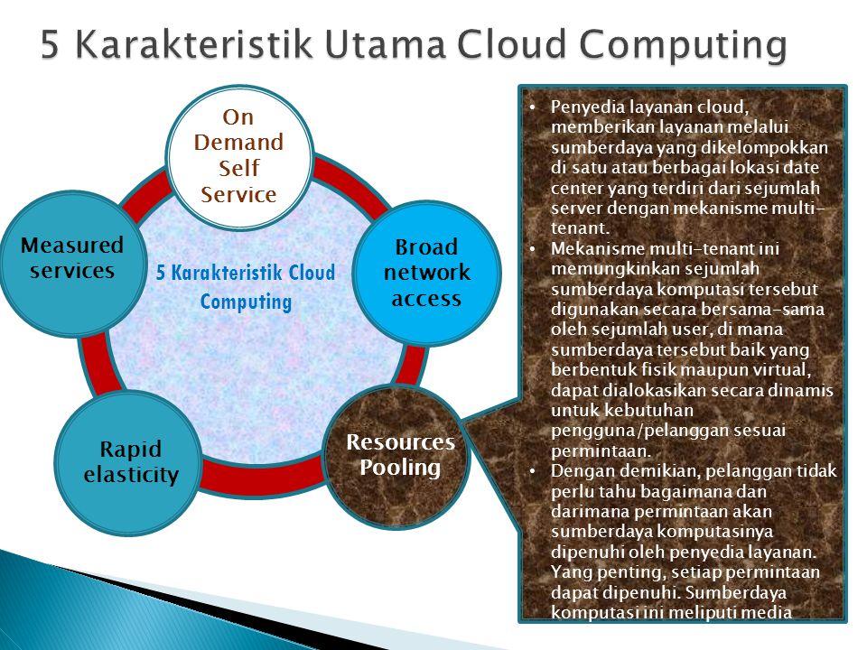 On Demand Self Service Broad network access Resources Pooling Rapid elasticity Measured services Penyedia layanan cloud, memberikan layanan melalui su