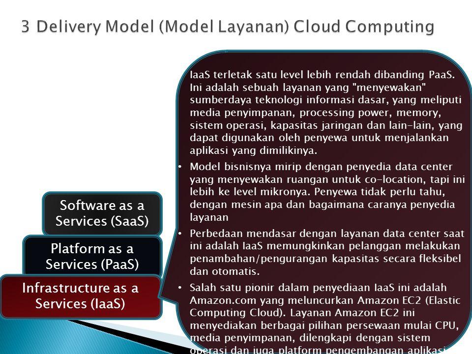 Software as a Services (SaaS) Platform as a Services (PaaS) Infrastructure as a Services (IaaS) IaaS terletak satu level lebih rendah dibanding PaaS.