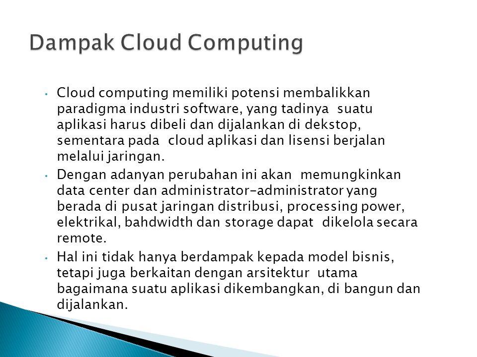 Cloud computing memiliki potensi membalikkan paradigma industri software, yang tadinya suatu aplikasi harus dibeli dan dijalankan di dekstop, sementara pada cloud aplikasi dan lisensi berjalan melalui jaringan.