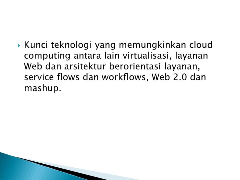  Kunci teknologi yang memungkinkan cloud computing antara lain virtualisasi, layanan Web dan arsitektur berorientasi layanan, service flows dan workflows, Web 2.0 dan mashup.