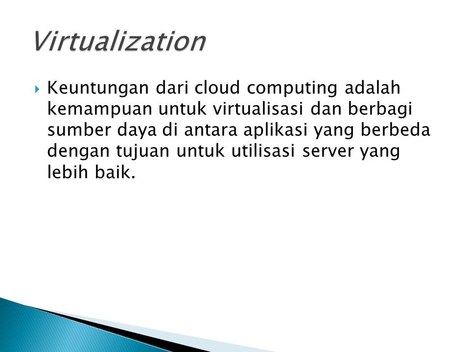  Keuntungan dari cloud computing adalah kemampuan untuk virtualisasi dan berbagi sumber daya di antara aplikasi yang berbeda dengan tujuan untuk util