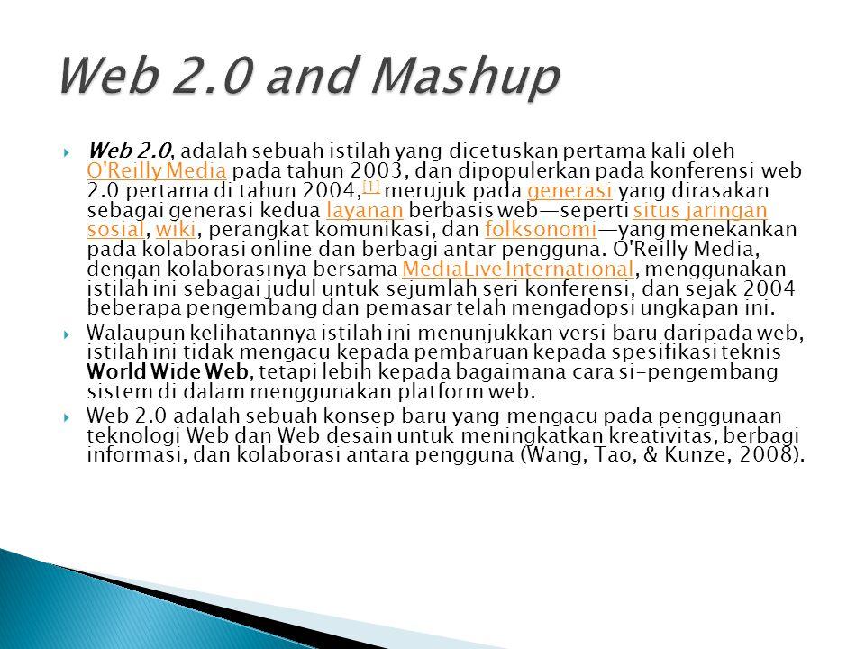  Web 2.0, adalah sebuah istilah yang dicetuskan pertama kali oleh O Reilly Media pada tahun 2003, dan dipopulerkan pada konferensi web 2.0 pertama di tahun 2004, [1] merujuk pada generasi yang dirasakan sebagai generasi kedua layanan berbasis web—seperti situs jaringan sosial, wiki, perangkat komunikasi, dan folksonomi—yang menekankan pada kolaborasi online dan berbagi antar pengguna.
