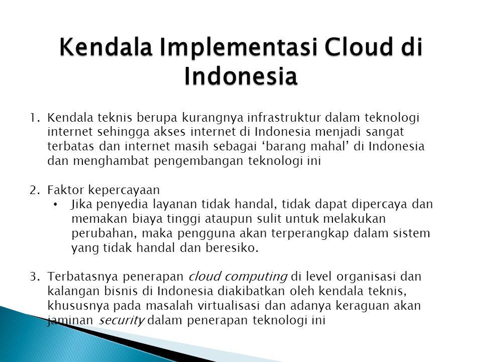 Kendala Implementasi Cloud di Indonesia 1.Kendala teknis berupa kurangnya infrastruktur dalam teknologi internet sehingga akses internet di Indonesia