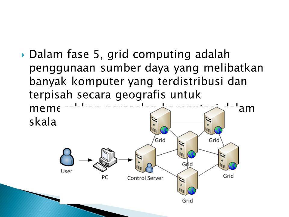  Dalam fase 5, grid computing adalah penggunaan sumber daya yang melibatkan banyak komputer yang terdistribusi dan terpisah secara geografis untuk memecahkan persoalan komputasi dalam skala besar.