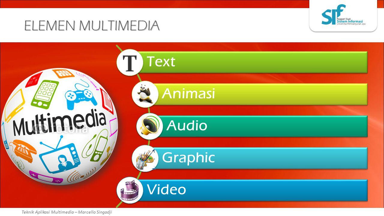Teknik Aplikasi Multimedia – Marcello Singadji ELEMEN MULTIMEDIA Text Animasi Audio Graphic Video