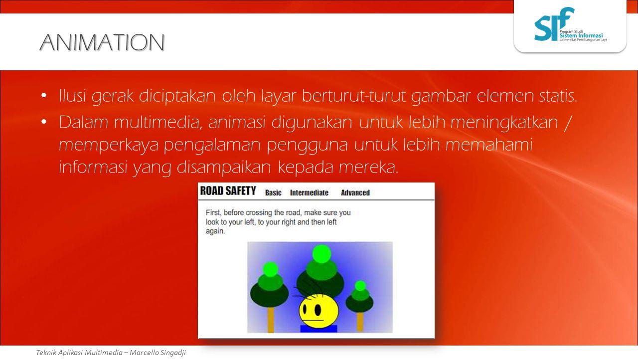 Teknik Aplikasi Multimedia – Marcello Singadji ANIMATION Ilusi gerak diciptakan oleh layar berturut-turut gambar elemen statis. Dalam multimedia, anim