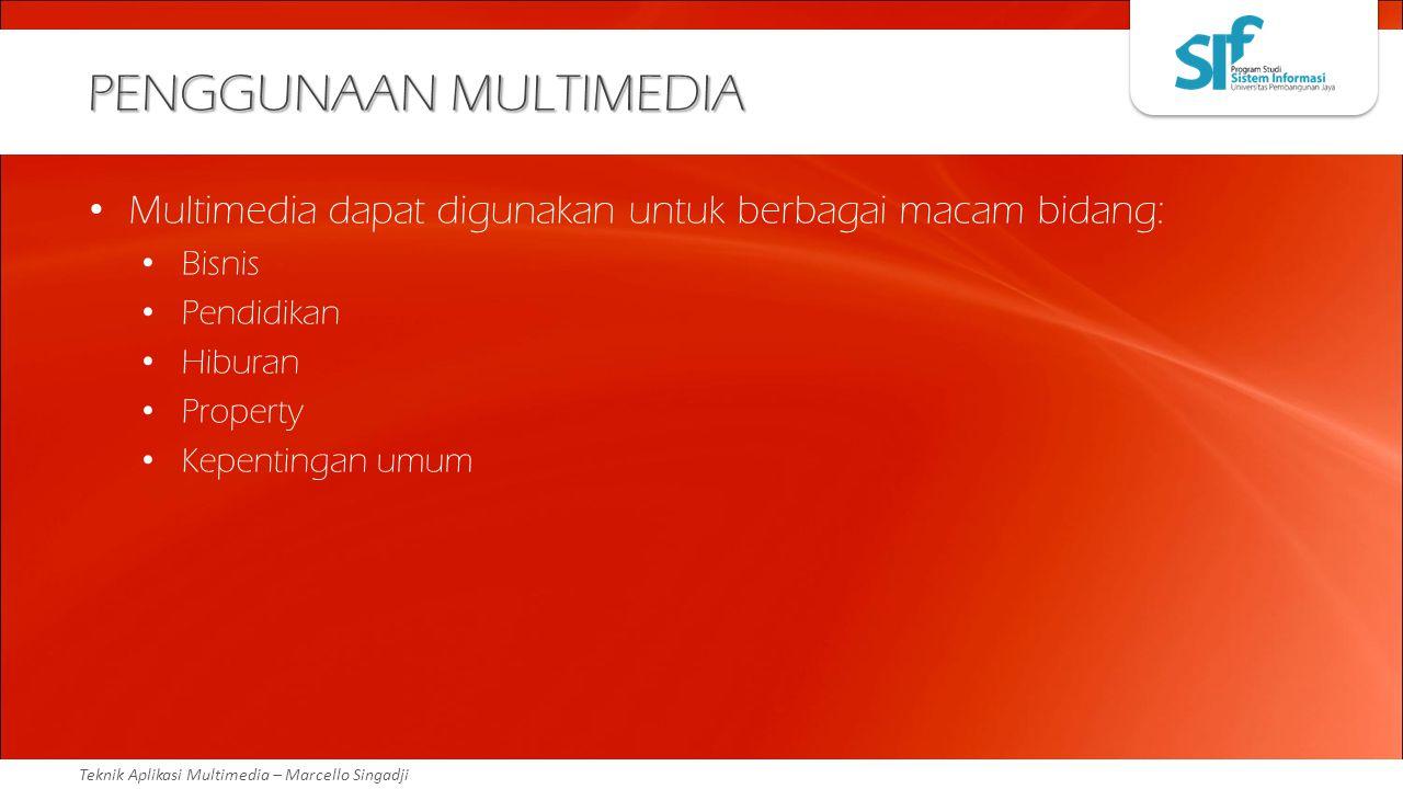 Teknik Aplikasi Multimedia – Marcello Singadji PENGGUNAAN MULTIMEDIA Multimedia dapat digunakan untuk berbagai macam bidang: Bisnis Pendidikan Hiburan