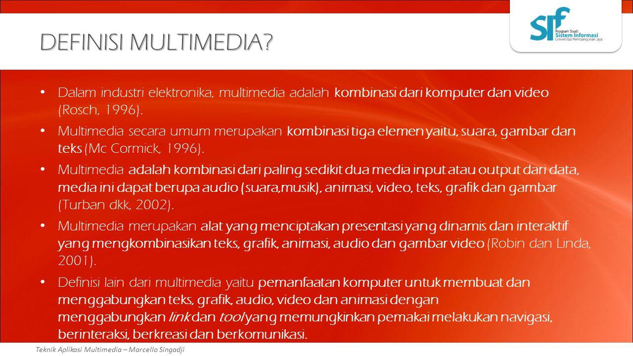 Teknik Aplikasi Multimedia – Marcello Singadji DEFINISI MULTIMEDIA? Dalam industri elektronika, multimedia adalah kombinasi dari komputer dan video (R