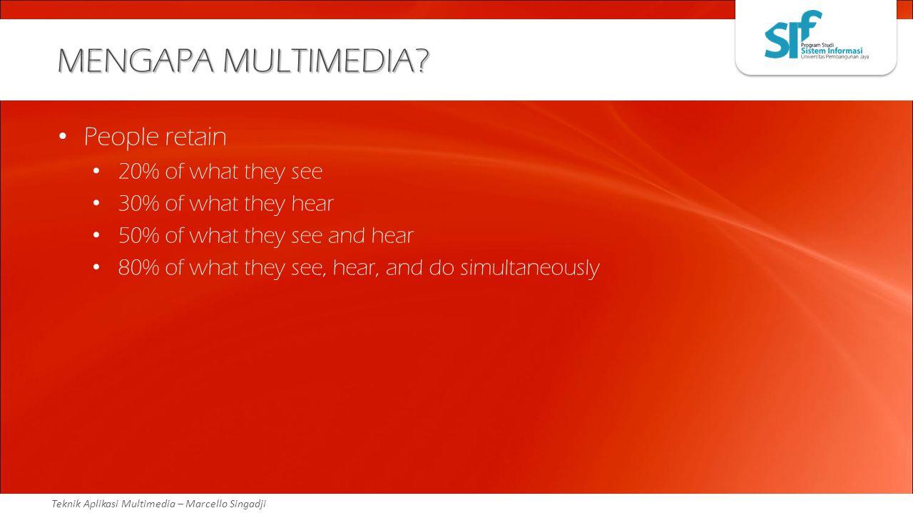 Teknik Aplikasi Multimedia – Marcello Singadji MENGAPA MULTIMEDIA? People retain 20% of what they see 30% of what they hear 50% of what they see and h