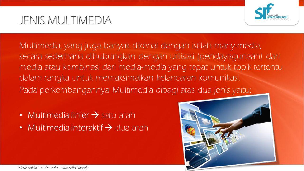 Teknik Aplikasi Multimedia – Marcello Singadji JENIS MULTIMEDIA Multimedia, yang juga banyak dikenal dengan istilah many-media, secara sederhana dihub