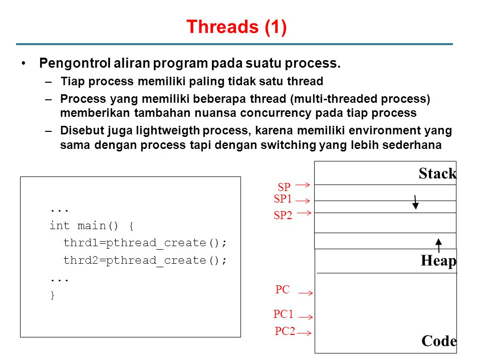 Threads (1) Pengontrol aliran program pada suatu process.