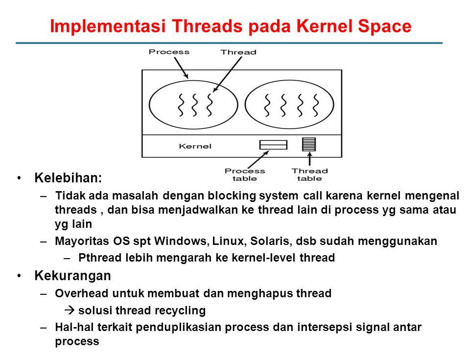 Kelebihan: –Tidak ada masalah dengan blocking system call karena kernel mengenal threads, dan bisa menjadwalkan ke thread lain di process yg sama atau yg lain –Mayoritas OS spt Windows, Linux, Solaris, dsb sudah menggunakan –Pthread lebih mengarah ke kernel-level thread Kekurangan –Overhead untuk membuat dan menghapus thread  solusi thread recycling –Hal-hal terkait penduplikasian process dan intersepsi signal antar process Implementasi Threads pada Kernel Space