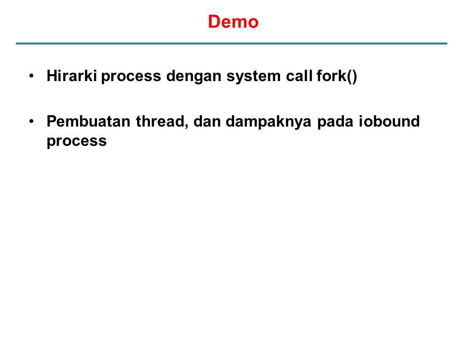 Hirarki process dengan system call fork() Pembuatan thread, dan dampaknya pada iobound process Demo