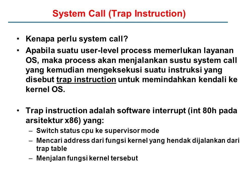 System Call (Trap Instruction) Kenapa perlu system call.