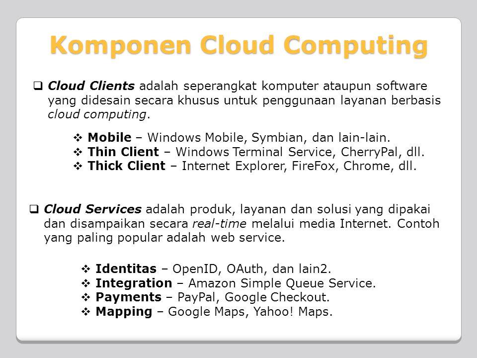  Cloud Clients adalah seperangkat komputer ataupun software yang didesain secara khusus untuk penggunaan layanan berbasis cloud computing.