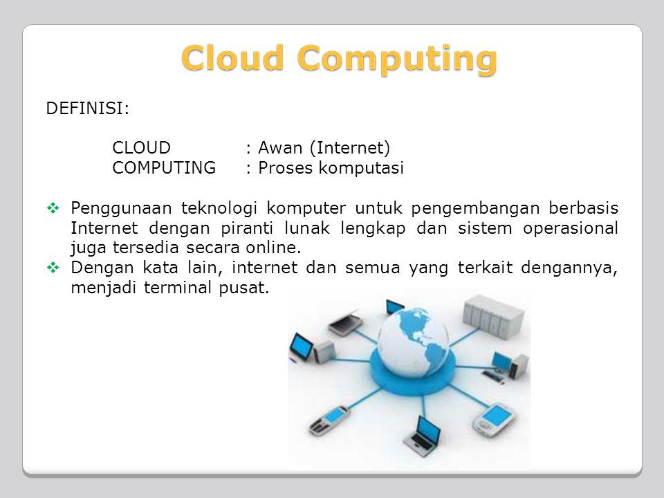 DEFINISI: CLOUD : Awan (Internet) COMPUTING : Proses komputasi  Penggunaan teknologi komputer untuk pengembangan berbasis Internet dengan piranti lunak lengkap dan sistem operasional juga tersedia secara online.