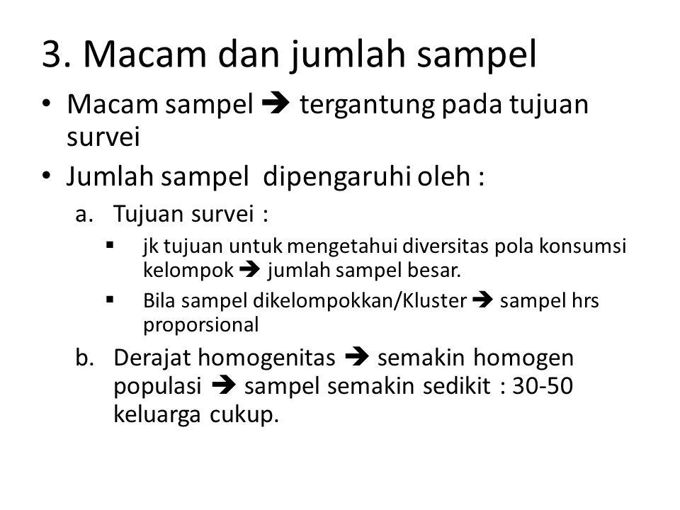 3. Macam dan jumlah sampel Macam sampel  tergantung pada tujuan survei Jumlah sampel dipengaruhi oleh : a.Tujuan survei :  jk tujuan untuk mengetahu