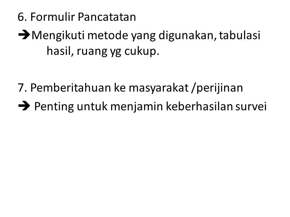 6. Formulir Pancatatan  Mengikuti metode yang digunakan, tabulasi hasil, ruang yg cukup. 7. Pemberitahuan ke masyarakat /perijinan  Penting untuk me