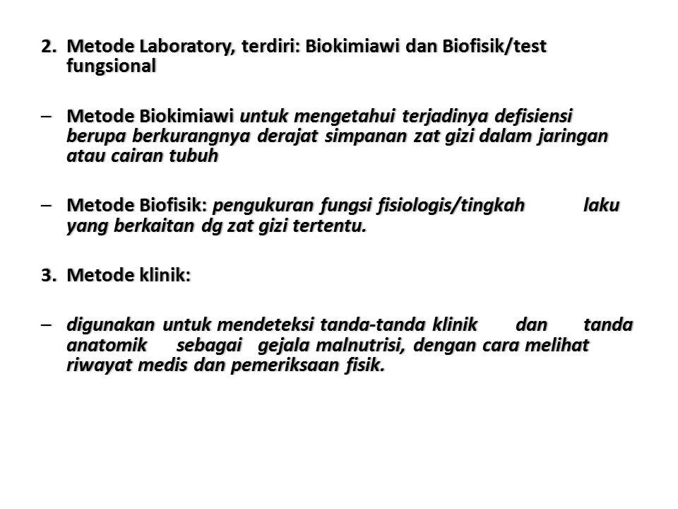 2. MetodeLaboratory,terdiri:BiokimiawidanBiofisik/test fungsional 2. Metode Laboratory, terdiri: Biokimiawi dan Biofisik/test fungsional –MetodeBiokim