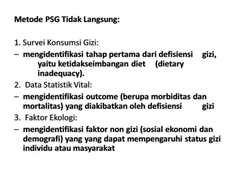 Metode PSG Tidak Langsung:Metode PSG Tidak Langsung: 1. SurveiKonsumsiGizi:1. Survei Konsumsi Gizi: –mengidentifikasitahappertamadaridefisiensigizi, y