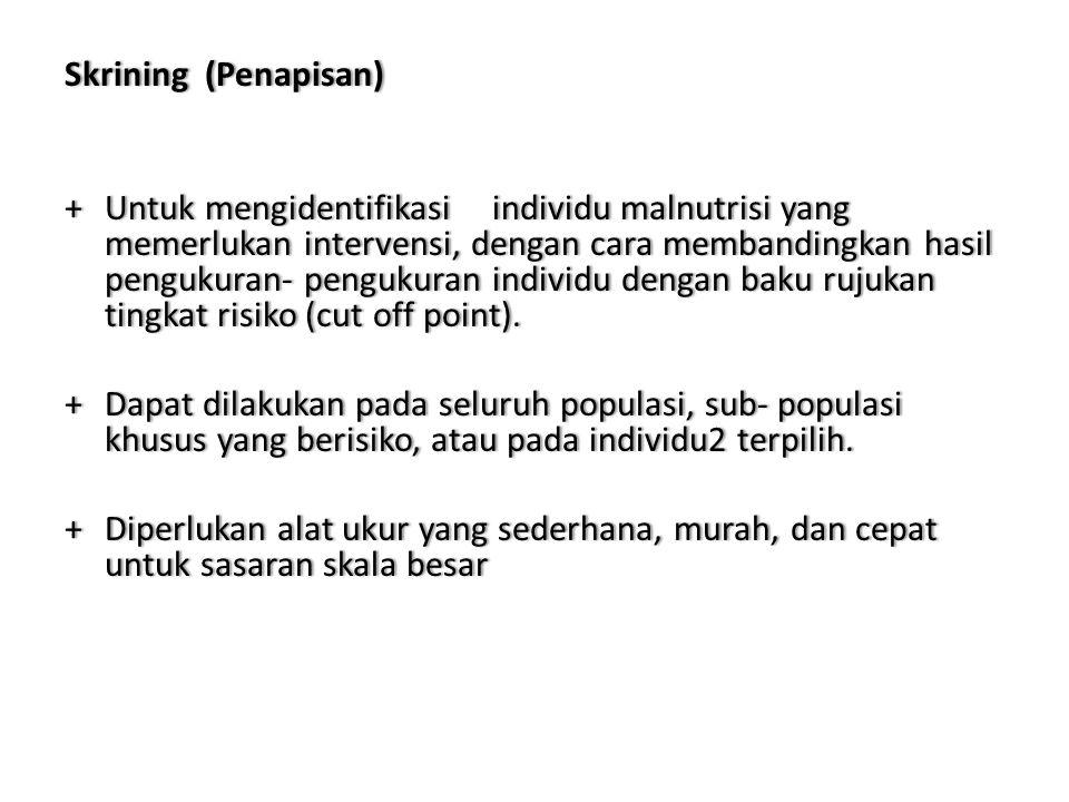 Skrining (Penapisan)Skrining (Penapisan) +Untukmengidentifikasi individumalnutrisiyang memerlukanintervensi,dengancaramembandingkanhasil pengukuran-pe