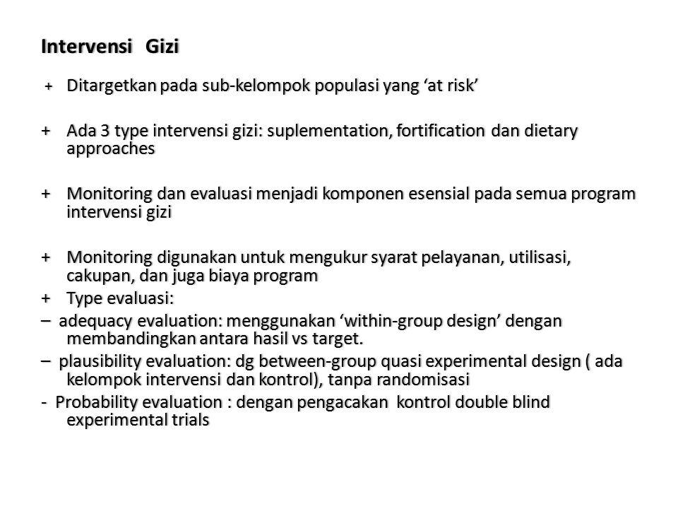 Intervensi GiziIntervensi Gizi + Ditargetkanpadasub-kelompokpopulasiyang'atrisk' + Ditargetkan pada sub-kelompok populasi yang 'at risk' +Ada3typeinte