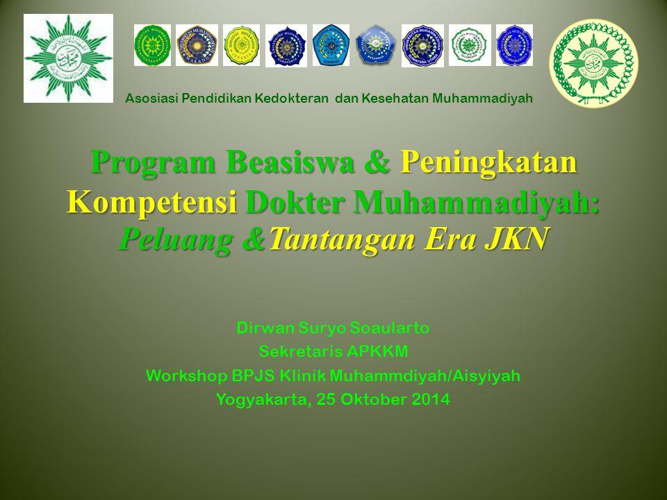 Asosiasi Pendidikan Kedokteran dan Kesehatan Muhammadiyah Program Beasiswa & Peningkatan Kompetensi Dokter Muhammadiyah: Peluang &Tantangan Era JKN Di