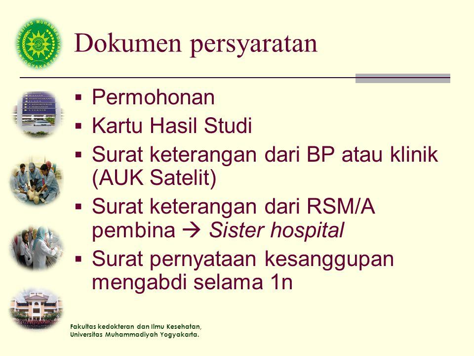 Fakultas kedokteran dan Ilmu Kesehatan, Universitas Muhammadiyah Yogyakarta. Dokumen persyaratan  Permohonan  Kartu Hasil Studi  Surat keterangan d