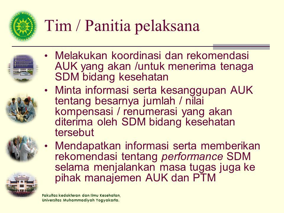 Fakultas kedokteran dan Ilmu Kesehatan, Universitas Muhammadiyah Yogyakarta. Tim / Panitia pelaksana Melakukan koordinasi dan rekomendasi AUK yang aka