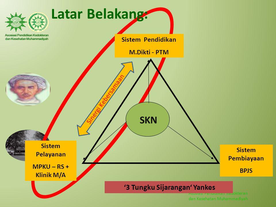Asosiasi Pendidikan Kedokteran dan Kesehatan Muhammadiyah SKN Sistem Pelayanan MPKU – RS + Klinik M/A Sistem Pembiayaan BPJS Sistem Pendidikan M.Dikti