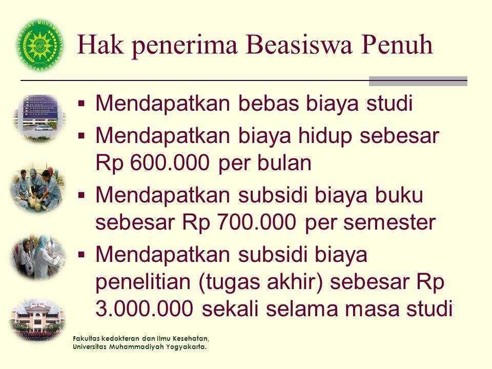 Fakultas kedokteran dan Ilmu Kesehatan, Universitas Muhammadiyah Yogyakarta. Hak penerima Beasiswa Penuh  Mendapatkan bebas biaya studi  Mendapatkan