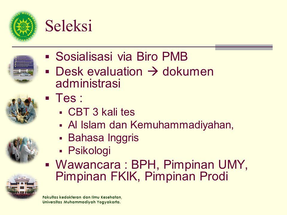 Fakultas kedokteran dan Ilmu Kesehatan, Universitas Muhammadiyah Yogyakarta. Seleksi  Sosialisasi via Biro PMB  Desk evaluation  dokumen administra