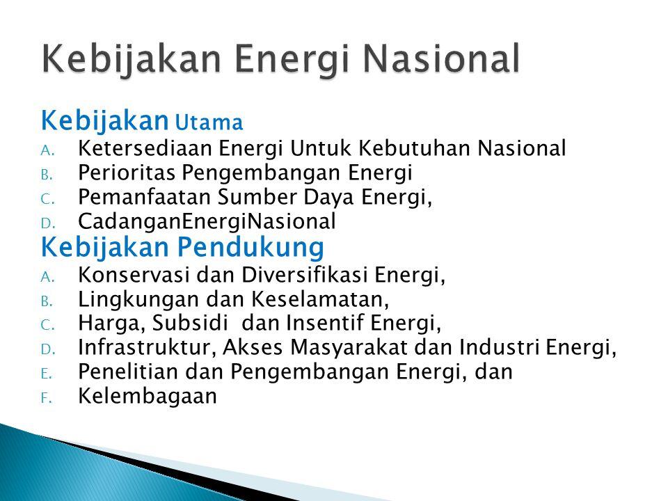 Kebijakan Utama A.Ketersediaan Energi Untuk Kebutuhan Nasional B.