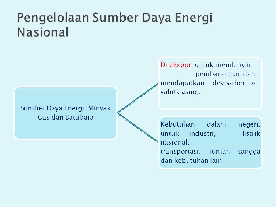 Sumber Daya Energi: Minyak Gas dan Batubara Di ekspor: untuk membiayai pembangunan dan mendapatkan devisa berupa valuta asing.