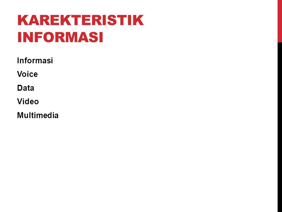 KAREKTERISTIK INFORMASI Informasi Voice Data Video Multimedia