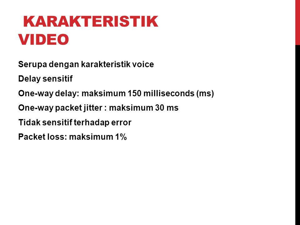 KARAKTERISTIK VIDEO Serupa dengan karakteristik voice Delay sensitif One-way delay: maksimum 150 milliseconds (ms) One-way packet jitter : maksimum 30 ms Tidak sensitif terhadap error Packet loss: maksimum 1%
